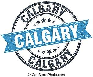 Calgary blue round grunge vintage ribbon stamp