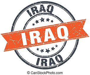 Iraq red round grunge vintage ribbon stamp