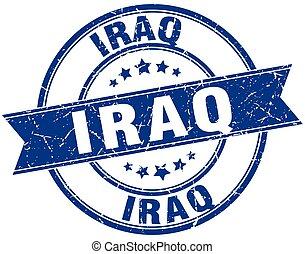 Iraq blue round grunge vintage ribbon stamp