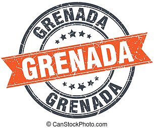 Grenada red round grunge vintage ribbon stamp