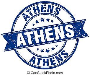 Athens blue round grunge vintage ribbon stamp