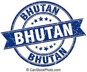 Bhutan blue round grunge vintage ribbon stamp