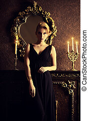 vintage luxury - Magnificent young woman in a luxurious...