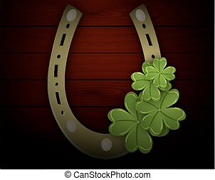 four-leaf clover in the horseshoe - Four leaf clover...