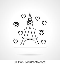 Romantic tour flat line vector icon - Hearts signs around a...