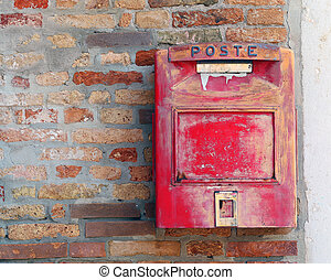 red mailbox where to mail letters and postcards - italian...