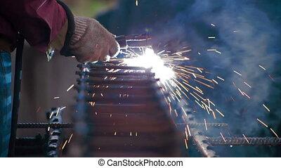 Metal welding process Sparks - Metal welding Close up Shot