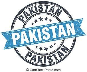 Pakistan blue round grunge vintage ribbon stamp