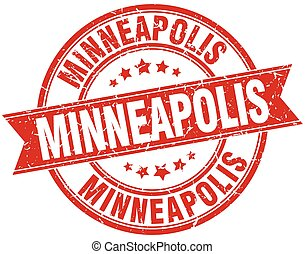 Minneapolis red round grunge vintage ribbon stamp