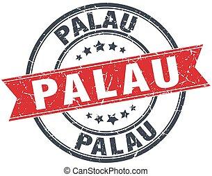Palau red round grunge vintage ribbon stamp