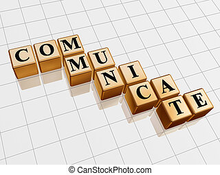golden communicate - 3d golden boxes with text -...