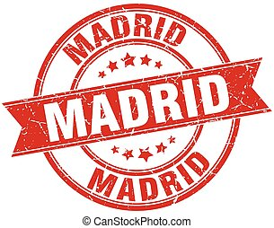 Madrid red round grunge vintage ribbon stamp