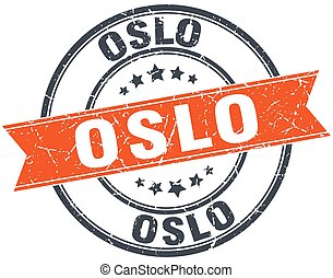 Oslo red round grunge vintage ribbon stamp