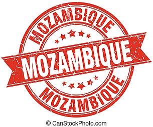 Mozambique red round grunge vintage ribbon stamp