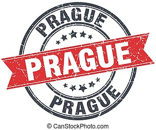 Prague red round grunge vintage ribbon stamp