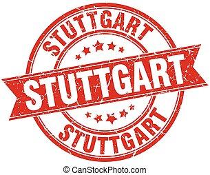Stuttgart red round grunge vintage ribbon stamp