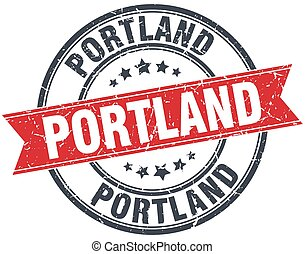 Portland red round grunge vintage ribbon stamp