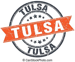 Tulsa red round grunge vintage ribbon stamp