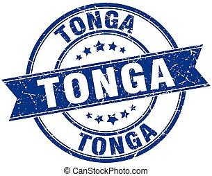 Tonga blue round grunge vintage ribbon stamp