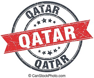 Qatar red round grunge vintage ribbon stamp
