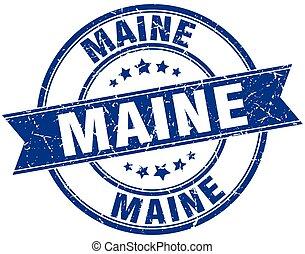 Maine blue round grunge vintage ribbon stamp