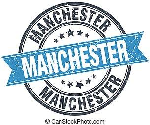 Manchester blue round grunge vintage ribbon stamp