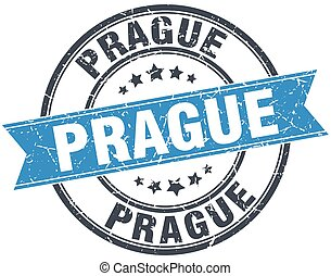 Prague blue round grunge vintage ribbon stamp