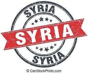 Syria red round grunge vintage ribbon stamp