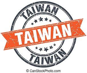 Taiwan red round grunge vintage ribbon stamp