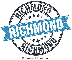 Richmond blue round grunge vintage ribbon stamp