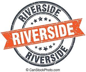 Riverside red round grunge vintage ribbon stamp