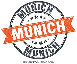 Munich red round grunge vintage ribbon stamp