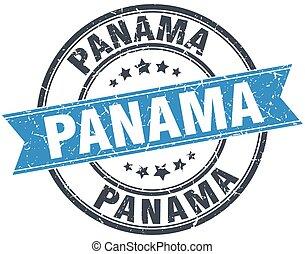 Panama blue round grunge vintage ribbon stamp