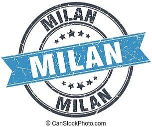 Milan blue round grunge vintage ribbon stamp