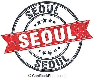 Seoul red round grunge vintage ribbon stamp