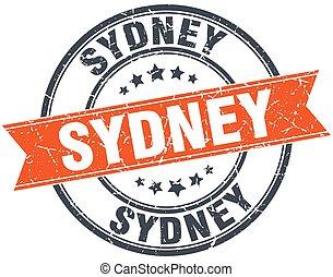 Sydney red round grunge vintage ribbon stamp