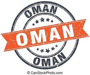 Oman red round grunge vintage ribbon stamp