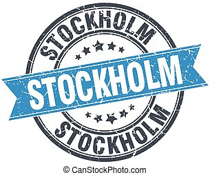 Stockholm blue round grunge vintage ribbon stamp