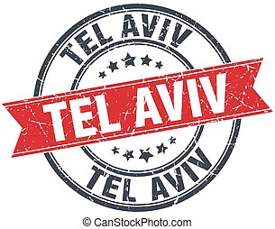 Tel Aviv red round grunge vintage ribbon stamp
