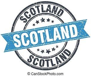 Scotland blue round grunge vintage ribbon stamp