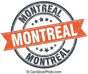 Montreal red round grunge vintage ribbon stamp