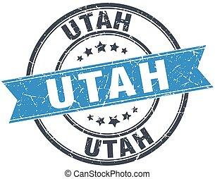 Utah blue round grunge vintage ribbon stamp