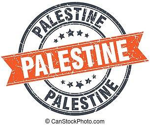 Palestine red round grunge vintage ribbon stamp