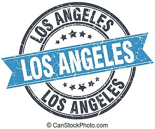 Los Angeles blue round grunge vintage ribbon stamp