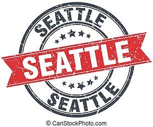 Seattle red round grunge vintage ribbon stamp
