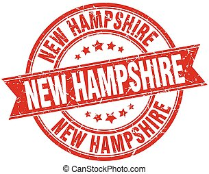 New Hampshire red round grunge vintage ribbon stamp