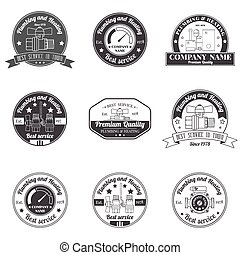 Set Vintage Plumbing, Heating Services logo, labels and...