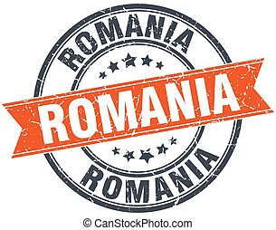 Romania red round grunge vintage ribbon stamp