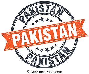 Pakistan red round grunge vintage ribbon stamp