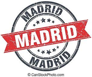 Madrid red round grunge vintage ribbon stamp